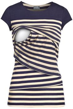 Super stylish fall nursing top features angled layers in navy and cream stripes. Breastfeeding effortlessly on the go. Free exchanges & easy returns.