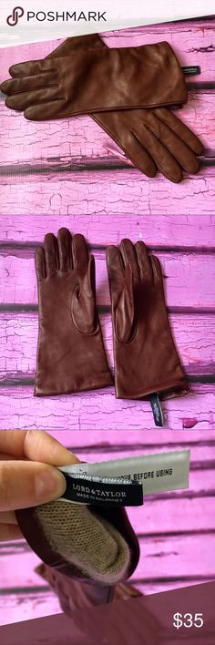 Lord & Taylor Cognac Leather Driving Gloves These gloves are in EUC!! A rich cognac color and oh so comfortable to wear, you will not be disappointed with this purchase! 100% Genuine Leather Shell/100% Cashmere Lining. Bundle and save! 💕 Lord & Taylor Accessories Gloves & Mittens