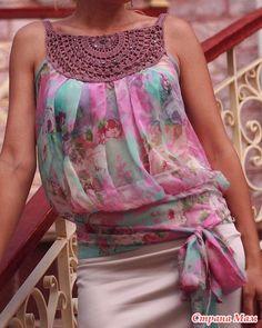 25 Ideas crochet top summer fabrics for 2019 Col Crochet, Crochet Fabric, Crochet Collar, Crochet Woman, Crochet Blouse, Crochet Stitches, Crochet Pattern, Crochet Fashion, Diy Fashion