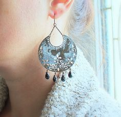 Tribal Statement Earrings White Patina Black Glass by michabella, $25.00