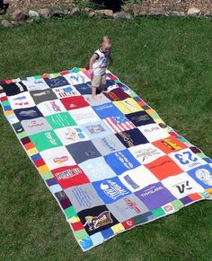 T-shirt quilt - Great idea for all those   t-shirts you just can't throw away!