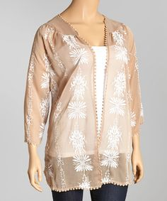 Loving this Taupe & White Floral Embroidered Open Cardigan - Plus on #zulily! #zulilyfinds
