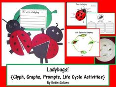 Ladybug Fun with a Ladybug Shape Glyph, writing Prompts and Graphic Organizers, Graphs, Lady Bug Labeling, Life Cycle of a Ladybug Activities and a Ladybug craftivity.
