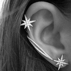 Donna Orecchini Fiocco Di Neve Strass Argento Asimmetrico Earrings Ear Clip Stud