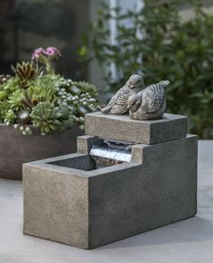 Mini Element with Birds cast stone Fountain made by Campania International