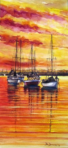 Boats at sunset, original painting by Berrin Duma.