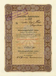 HWPH AG - Historische Wertpapiere - Rübenbaugesellschaft Lützen GmbH / Lützen, 05.04.1921, Anteilschein über 2.500 Mark, später auf 5.000 RM umgestellt (Stempel)