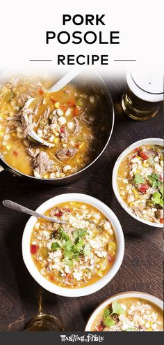 A rich combination of pork and hominy is brightened by fresh tomatillos and spicy jalapeño—a bowl of pure comfort for Cinco de Mayo. Pork Recipes For Dinner, Roast Recipes, Mexican Food Recipes, Soup Recipes, Recipies, Ethnic Recipes, Pork Posole, Cooking For A Crowd, Domestic Goddess