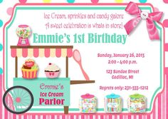 Ice Cream Parlor Birthday Invitation - Sweet Celebration Ice Cream Birthday Party Invitation - Girl's 1st / First Birthday or Any Age