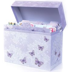 Presentation: Sturdy, rigid box with wipe-clean surface and a side drawer for pen and jotter pad etc. Includes 15 matching dividers Paper Type: Artist: Karen Tye Bentley Size: x x : 260 x 210 x Greeting Card Organizer, Organiser Box, Donate To Charity, Purple Butterfly, Beautiful Butterflies, Getting Organized, Storage Solutions, Tea Party, Decorative Boxes