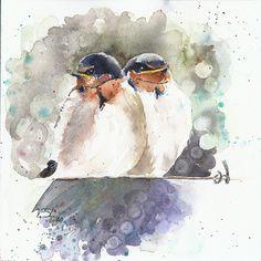 Original painting watercolor swallows 9x12 birds by YuliaShe, $87.00