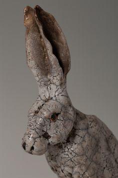 Raku Fired Ceramic Hare Sculpture Hare, Bunting, Lion Sculpture, Ceramics, Statue, Ceramica, Garlands, Pottery, Bunny