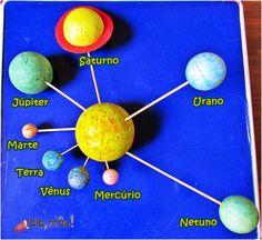 Sistema solar com bolas de isopor