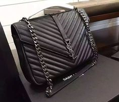 ysl black with silver chain leather shoulder bag