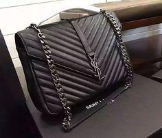 30ffa359a9 ysl black with silver chain leather shoulder bag