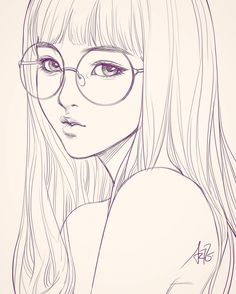 Last sketch of girl with glasses. Having bad backache it hurts. ;/