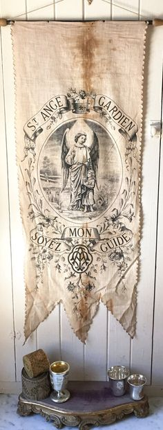 SOLD // 1800s antique French religious banner by histoireancienne