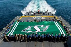HMCS Regina sailors arecurrently in town on a namesake city visit and will spend some of their Saturday displaying the world's largest Roughriders flag. Go Rider, Saskatchewan Roughriders, Grey Cup, Saskatchewan Canada, Canada Eh, Rough Riders, Green Colors, Worlds Largest, Pride