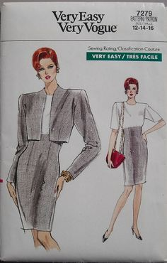 Vintage 80s Vogue 7279 Loose Fitting Jacket Dress by omasbricabrac, $16.00