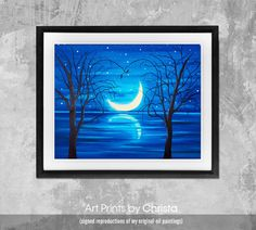 Moon print-Moonlight Poster-Wall art-living room-Sea print-Typography-moon poster- Home Decor-Digital Print-Art-from painting. Art and Collectibles art print wall art digital print home decor oil painting christmas gift moon print moon poster print bedroom decor moonlight print living room decor moon painting 17.00 USD #goriani