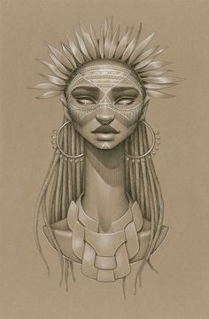 """Sundust: Summer Soulstice Collection by Sarah Golish // Sun Goddess Anyanwu – [An-yan-wew] """"Eye of the Sun"""" or """"The Light"""" is an Igbo deity from Nigeria that is believed to dwell in the sun. Alaigbo (Igboland) was referred to as the land of the rising sun. Her gold feathered crown and solar earrings emanate like the sun's rays shining down on her inhabitants to bask in her glory."""