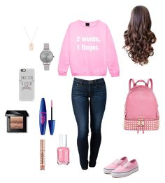 """on wednesday we wear pink- back to school outfit"" by adrianaadd on Polyvore featuring moda, THVM, Vans, MICHAEL Michael Kors, Casetify, Olivia Burton, Anarchy Street, Bobbi Brown Cosmetics, Essie e Urban Decay"