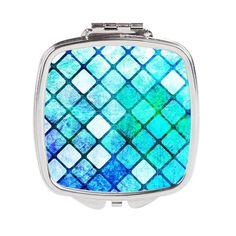 Blue Tiled Geometric Design Square Compact Mirror