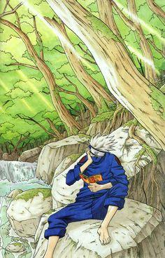 Kakashi of the Naruto series illustration by Masashi Kishimoto