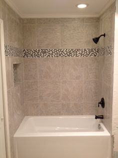 Tile & Bath tub Installation The Hamilton's called on Sless Construction to remodel the bathroom of their home in the Dommerich Hills area of Maitland, FL due to water damage from a plumb… Bathtubs For Small Bathrooms, Small Bathroom With Shower, Shower Tub, Amazing Bathrooms, Hall Bathroom, Simple Bathroom, Modern Bathroom, Bathroom Tubs, Tile Showers