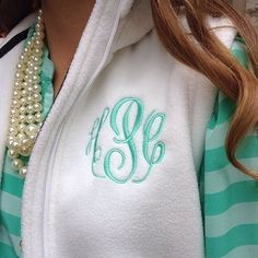 Monogrammed White Fleece Vest