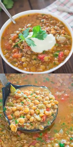 If you are looking for a perfect comforting and filling dish – you are in the right place. This Easy Lentil Chili is so warming and delicious, that it's hard to stop eating. Oh, and did I mention it is easy to make? Chili Recipes, Slow Cooker Recipes, Soup Recipes, Cooking Recipes, Dinner Recipes, Mexican Food Recipes, Vegetarian Recipes, Healthy Recipes, Easy Lentil Recipes