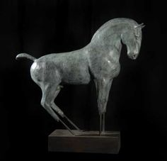 #sculpture by #sculptor Isabelle Faucher titled: 'Horse (abstract Bronze standing Small statuette)'. #IsabelleFaucher
