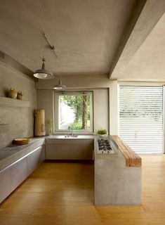 concrete and wood Kitchen Interior, Home Interior Design, Interior Architecture, Design Kitchen, Modern Interior, Contemporary Architecture, Contemporary Design, Modern Design, Loft Style Homes
