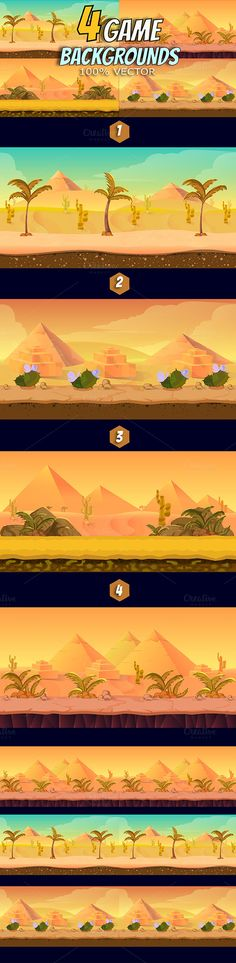 4 Desert Game Backgrounds by VitaliyVill on @creativemarket