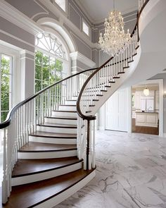 Lakeside Home 1 - traditional - staircase - milwaukee - by Wade Weissmann Architecture - Grand Staircase Foyer Staircase, Curved Staircase, Staircase Design, Floating Staircase, Luxury Staircase, Staircase Ideas, Entry Foyer, Marble Staircase, Winding Staircase