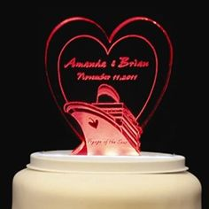 I found my cake topper for my Carnival Imagination Cruise Wedding!! (Heart Cruise Ship Personalized Cake Topper)
