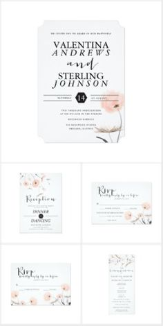 Modern Typography Dandelion Wedding Set Elegant wedding invitation suite featuring modern typography styles with a mix of handwritten font. Main colors are black, white and peach. Illustrated with a lovely peach dandelion floral accent and geometric shapes. Includes wedding invitations, RSVP cards, envelopes, stickers, reception cards, and more.
