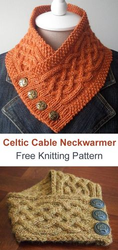 Strick Celtic Cable Neckwarmer Schal Free Knitting Pattern , Knit Celtic Cable Neckwarmer Scarf F. Cable Knitting Patterns, Knit Patterns, Free Knitting, Free Crochet, Knit Crochet, Double Crochet, Knitting Scarves, Sock Knitting, Knitting Tutorials