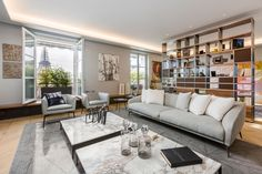 Dramatic Custom Shelving in this Luxury Apartment in Paris Overlooking The Eiffel Tower. - Luxury Living For You Estilo Interior, Best Interior, Interior Styling, Interior Design, Tour Eiffel, Luxury Apartments, Luxury Homes, Küchen Design, House Design