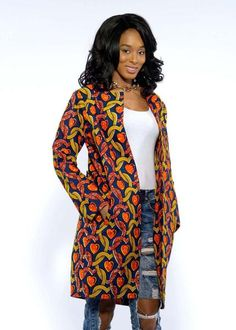 Tari African Print Jacket (Navy/Orange/Yellow) - Clearance