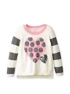 Design History Girl's Lurex Heart Sweater (Winter White)