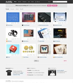 dribbble.com homepage, sleek, modern, clean, powerful, visual, interesting, interactive