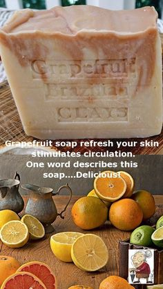 South Africa Grapefruit Artisan Soap with Moroccan and Brazilian Red Clay Natural Grapefruit Soap Refresh Your Skin and Stimulate Circulation One word describes this soap....Delicious! It is one of my new favorite mild scents. Made with the finest all natural South African grapefruit essential oil and an olive oil base. With the addition of palm and avocado oils it not only makes this soap smooth but has super creamy lather. Smooth to the touch and nourishing with moisturizing mango butter