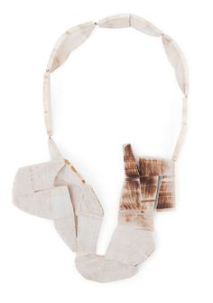 CAROLINA GIMENO-CHILE/SE- Necklace: Encounter 1, 2013 Birch, silver 37 x 21 x 7 cm