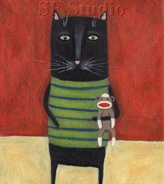 Black Cat Art, Print from original painting, Sock Monkey, Whimsical, Cute Cat Crazy Cats, I Love Cats, Black Cat Art, Black Cats, Monkey Art, Art Populaire, Cat Art Print, Kids Room Art, Art Kids