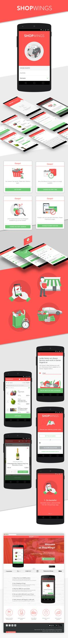 Shopwings - grocery delivery - android app on Behance Supermarket App, Rocket Internet, Ios App, Android Apps, Ipad, Delivery, Behance, Iphone