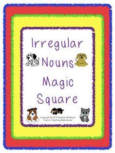 Irregular Nouns Magic Square Puzzle - $