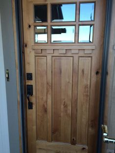Knotty alder 6 lite shaker craftsman front door with shelf - Knotty alder interior doors sale ...