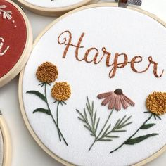 Nursery decor, baby girl nursery, custom baby name girls nursery, baby name cross stitch, personalized embroidery - Floral embroidery hoops Hand Embroidery Patterns Flowers, Hand Embroidery Videos, Hand Embroidery Designs, Beginner Embroidery, Wedding Embroidery, Baby Embroidery, Simple Embroidery, Baby Girl Embroidery Ideas, Embroidery Hoop Nursery