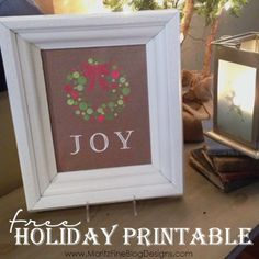 free Holiday Joy Wreath Printable | 2 colors to choose from | #Christmas | www.MoritzFineBlogDesgns